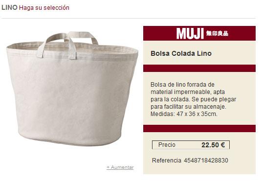 detalle de producto en la tienda online una bolsa de lino para la colada que me ha encantado
